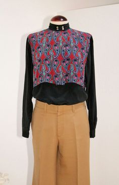 Vintage 80s Black Silk Blouse with Double Layer por Laimperdible