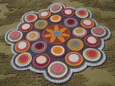 Primitive Wool Applique Layered Pennies Daisy Center Penny Rug/Table Candle Mat #Handmade