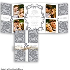 Create a one-of-a-kind wedding invitation! Your personal photos and the intricate lace give this gate-fold wedding invitation a familiar, homey feel. Add optional jute cord for a rustic touch. #grayweddings #weddinginvitations