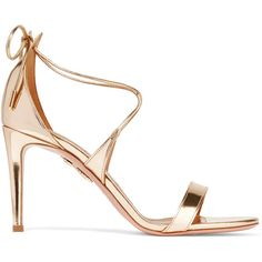 Aquazzura Linda mirrored-leather sandals (£420) ❤ liked on Polyvore featuring shoes, sandals, gold, tie shoes, high heel stilettos, stiletto sandals, polish shoes and stiletto heel sandals