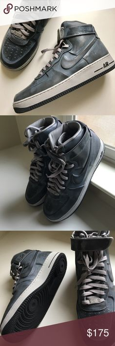 Men's Air Force One shoes Men's Air Force One high-top sneakers. Never worn. Purchased at the Beverly Hills NikeTown. Includes original box and Certificate of Authenticity. No trades. No PayPal. Nike Shoes Sneakers