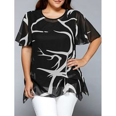 $20.05 Printed Chiffon Asymmetric Plus Size Blouse