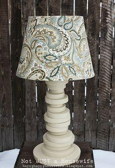 DIY random circles lamp - like the random wood blocks lamp.  Awesome and I love it.