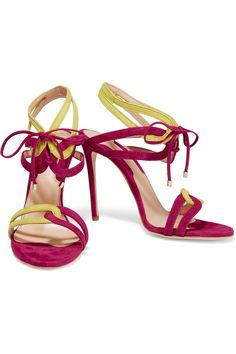 Chelsea ParisMina two-tone cutout suede sandals