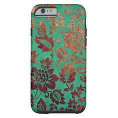 Vintage floral green and rust orange iphone 6 case  | Visit the Zazzle Site for More: http://www.zazzle.com/?rf=238228028496470081 [Referral Link]