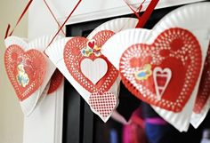 "Valentine's ""Mailbox"" {Made from two paper plates, ribbon and heart doilies}"