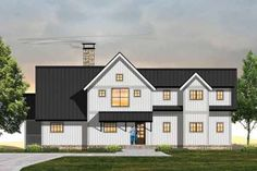 Modern Farmhouse Plan: 2,828 Square Feet, 4 Bedrooms, 3.5 Bathrooms - 9401-00099 Modern Farmhouse Plans, Farmhouse Style, Heating And Plumbing, Cost To Build, Best House Plans, Building Materials, Second Floor, Square Feet