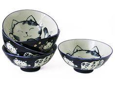 Dark blue ink-drawn Maneki Neko Japanese rice bowl, set of five.