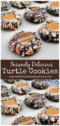 Insanely Delicious Turtle Cookies - [all time best dessert recipes!] - Insanely Delicious Turtle Cookies ~ The classic flavors of turtle candy … chocolate, pecans & car - Candy Recipes, Baking Recipes, Holiday Recipes, Dessert Recipes, Pizza Recipes, Ark Recipes, Best Christmas Recipes, Hamburger Recipes, Turkey Recipes