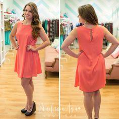 Coral Round Swing Dress - BlueGreenAqua boutique #bluegreenaqua