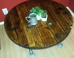 Wood coffee table-industrial look, spool table with oak stain, plumbing pipes, rustic meets industrial upcycled table