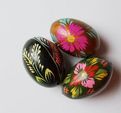 Easter Eggs / Pysanky / Hand painted by VintagePolkaShop on Etsy, $10.00