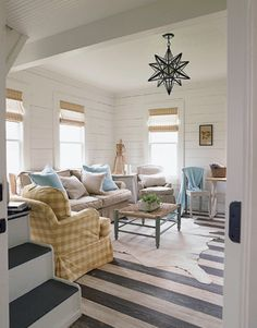aahhh, love this!! light fixture, stripes, planks. love it all