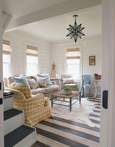 via House Beautiful | window coverings, white walls, colors of furnishings