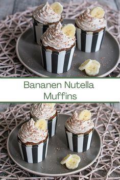 Ein Rezept für Schoko-Nuss-Muffins mit einem Nutella Kern und Bananen-Topping. Sehr leckerer Muffin. #muffin #nutella #banane #rezept
