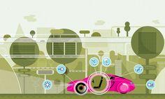Future car technologies illustrations by Adam Quest, via Behance