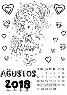 Ağustos ayı kalıbı Templates Printable Free, Free Printables, Student Calendar, August Calendar, January, Whimsy Stamps, Bullet Journal, Coloring Pages, Preschool