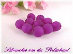 10 Polarisperlen 10 mm matt, Farbe lila von Schmuckes von der Perlenbraut auf DaWanda.com