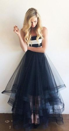 Navy Blue Prom Dresses,Tulle Prom Dress, Cheap Prom Dress, Elegant Strapless Prom Gowns,High Low Tiered Prom Dresses,New 2018 Graduation Dresses,Wedding Party Dress
