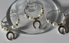 Horse shoe wedding wine glass charms - white x 10