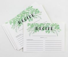 Recipe Card Set of 12 - use these for your pumpkin pie, stuffing and mashed potato recipes this Thanksgiving season.
