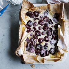 Black cherry clafoutis recipe from Fast Cooking by James Martin James Martin, Best Summer Desserts, Summer Dessert Recipes, Cherry Desserts, Just Desserts, Black Cherry Recipes, French Dessert Recipes, French Recipes, Clafoutis Recipes