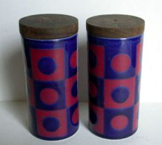 NICE VINTAGE 70's HORNSEA MODERNIST SALT & PEPPER/CRUET SET