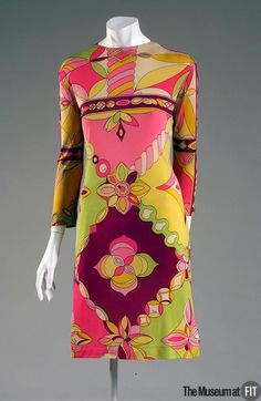 Emilio Pucci multicoloured silk jersey dress with glass beads, 1962, Italy. Museum at FIT New York.