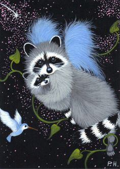 ACEO, PRINT, RACCOON, ANGEL, STARS, HUMMINGBIRD, FAIRY