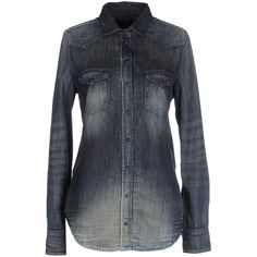 Diesel Denim Shirt (€130) ❤ liked on Polyvore featuring tops, blue, shirt top, long sleeve tops, diesel shirts, long-sleeve shirt and blue top