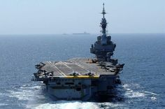 French Marine Nationale aircraft carrier Charles-de-Gaulle. Currently on sea trials during a mid life upgrade.