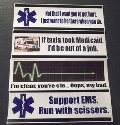 Set of 4 Funny EMS Bumper Stickers EMT Paramedic Humor Ambulance ECG EKG