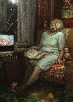 Arte Horror, Horror Art, Dark Fantasy, Fantasy Art, Illustrations, Illustration Art, Ange Demon, Creepy Horror, Arte Obscura