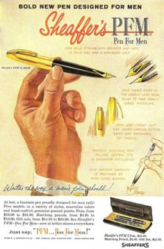 """Love the tag line... """"Bold new pen designed for men."""" I would guess this would have been late 1950s early 1960s. ... #Advertisements #Ads #Design #Creative #Posters #Advertising"""