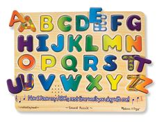 This 26-piece wooden puzzle pronounces the correct name of each letter when it is placed correctly! Pieces are slightly raised above the puzzle board for easy grasping. Colorful pictures underneath each piece help reinforce the relationship between letters and their sounds.