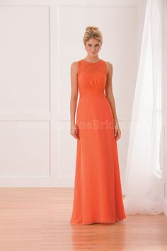 Jasmine Bridal Bridesmaid Dress B2 Style B173005 in Orange. A simple yet elegant orange bridesmaid dress that can find its place at any special occasion. The bridesmaid dress is made from poly chiffon with a jewel neckline, A-line skirt, and lace detail on the bodice.
