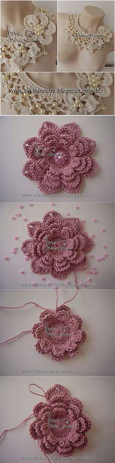 Watch The Video Splendid Crochet a Puff Flower Ideas. Phenomenal Crochet a Puff Flower Ideas. Crochet Motifs, Crochet Flower Patterns, Crochet Designs, Crochet Flowers, Fabric Flowers, Crochet Stitches, Love Crochet, Irish Crochet, Beautiful Crochet