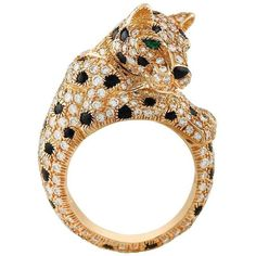Preowned Cartier Onyx Emerald Diamond Gold Panthere Ring (2,527,250 DOP) ❤ liked on Polyvore featuring jewelry, rings, green, emerald ring, cartier ring, gold ring, 18k diamond ring and pre owned diamond rings