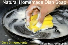 This simple recipe for natural homemade dish soap can be made in just minutes! All you need is three ingredients and it works just as good as regular soap