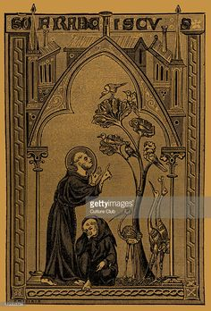 St. Francis of Assisi talking to the Birds - from psalter miniature, 13th century.