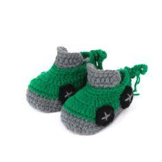 Green Crochet Handmade Soft baby boy Shoes