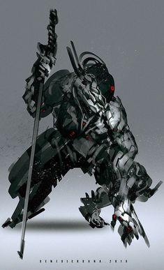 (Y/N) is the last samurai of an elder village, after the sudden destr… Arte Ninja, Arte Robot, Robot Concept Art, Armor Concept, Cyberpunk Kunst, Futuristic Armour, Futuristic Samurai, Sci Fi Armor, Future Soldier