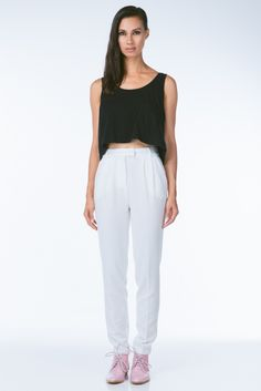 White High Waist Vintage Inspired Trousers by Finders Keepers