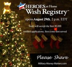 Sears Gift Registry opens 29 August for military service personnel.  Don't miss out!