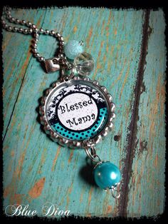 """Mother's """"Blessed Mama""""  Bottle Cap Necklace on Etsy, $12.00"""