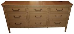Henry Link Faux-Bamboo 9 Drawer Dresser on Chairish.com