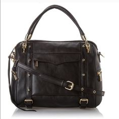 """🚨FINAL PRICE🚨Rebecca Minkoff Black Leather Bag NWT. Rebecca Minkoff structured everyday satchel with gold hardware and multiple pockets. Measures 12""""X12""""x6.5"""" with a 9"""" drop. Genuine leather. Custom light gold hardware and exclusive print lining. Rebecca Minkoff Bags Satchels"""