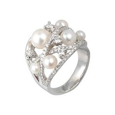 Fresh pearl creations by Yvel. This unique 18k white gold ring features several 3 mm - 8 mm lustrous white fresh water pearls set with glittering diamonds (.84 ctw).