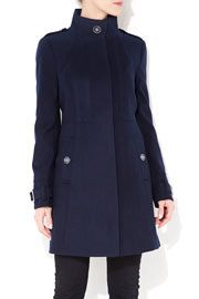 Navy Seam Funnel Coat