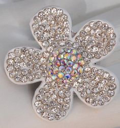 Rhinestone cocktail ring wedding gift flower by victoriascharms, $15.00